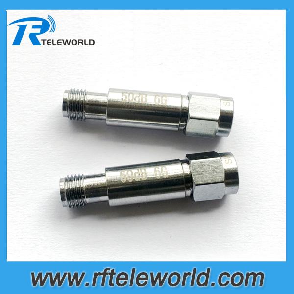 2W SMA fixed attenuator coaxial attenuator 50dB 60db 6Ghz 50ohm