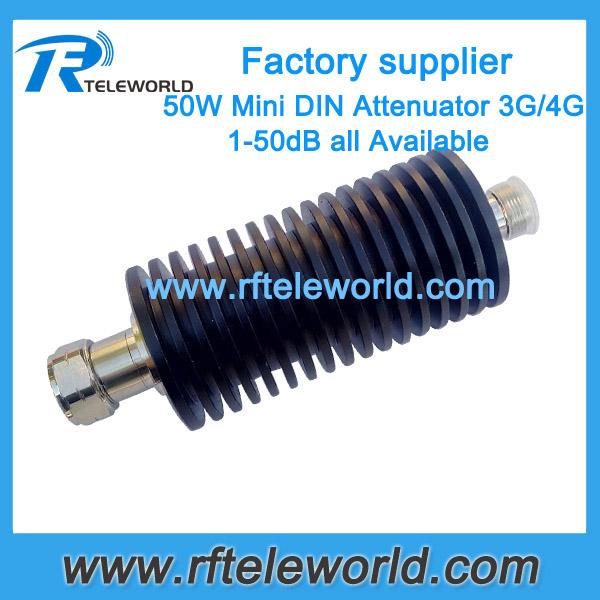 50W 4.3/10 DIN RF coaxial attenuator mini DIN to N RF DC-3Ghz 50ohmZoom 50W 4.3/10 DIN RF coaxial attenuator mini DIN to N RF DC-3Ghz 50ohm