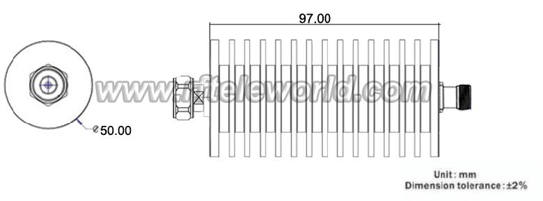50w 4 3  10 coaxial attenuator